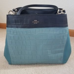 COACH Lexy Embossed Croc Leather Colorblock Purse